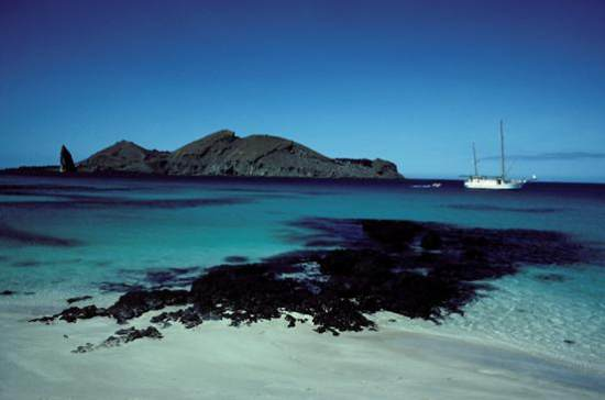 Yacht at bay, Galapagos